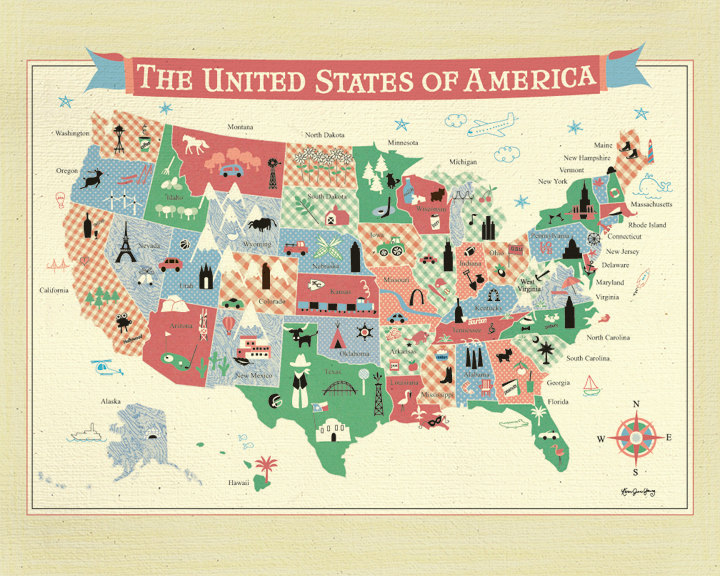 Poster Map of the United States of America - Wall Art for Children\' room or  Nursery - E11-O-MAP from Loose Petals