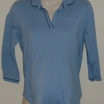 Light Blue V Neck Shirt With Collar-Duo Maternity Size Medium
