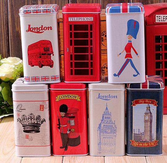Free Shipping Set Of 7 Retro Vintage London Style Tea Tin Box Christmas Gift