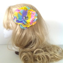 big diamond rhinestone jewel pastel rainbow peony hair flower clip