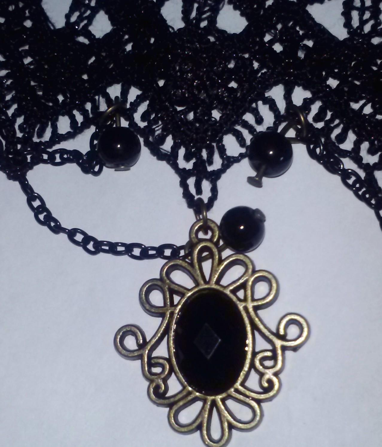 Black Victorian Gothic Lace Crochet Choker Collar necklace w/ ornate ...