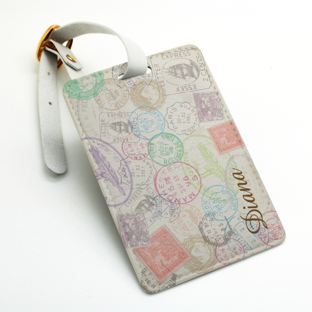 Vintage stamp pattern Personalized luggage tag, custom photo ...