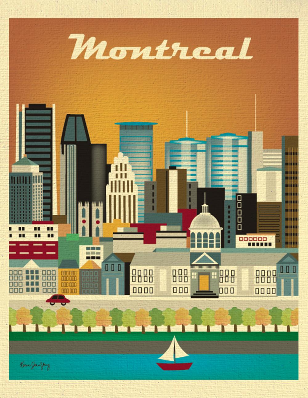 Montreal Canada Skyline 11 X 14 Retro Travel Original