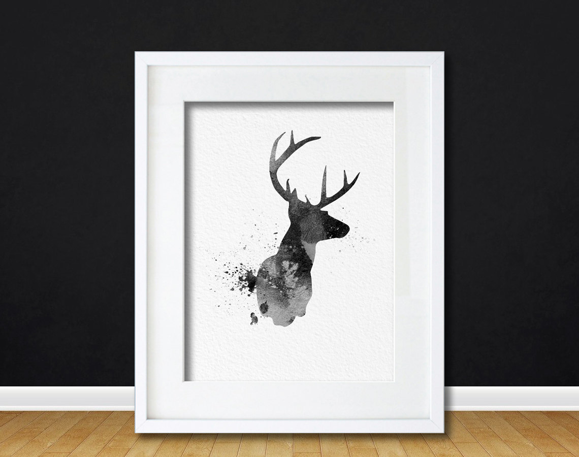 Watercolor Art Buck Deer Gift Modern 8x10 Wall Art Decor Buck Deer Wall  Hanging Print Black