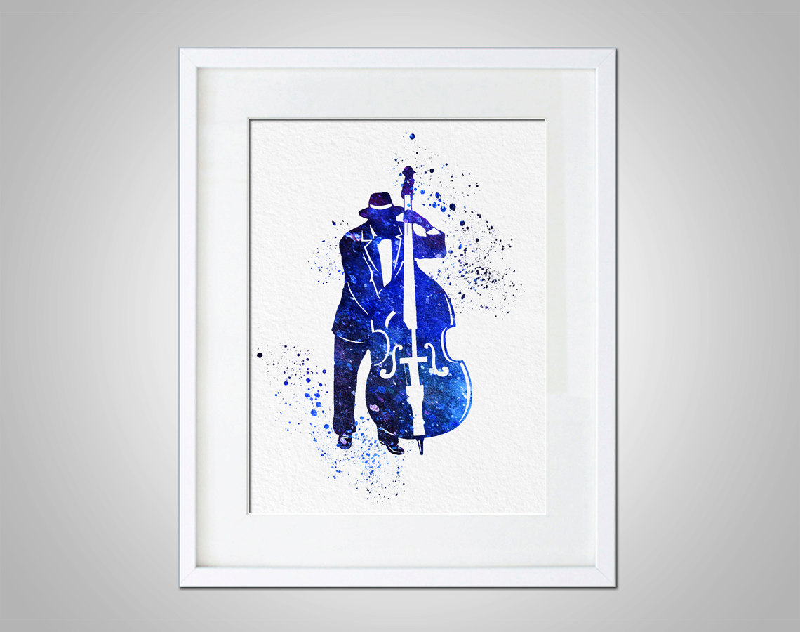 Watercolor art print bass jazz player modern 8x10 wall art for Colorful wall art