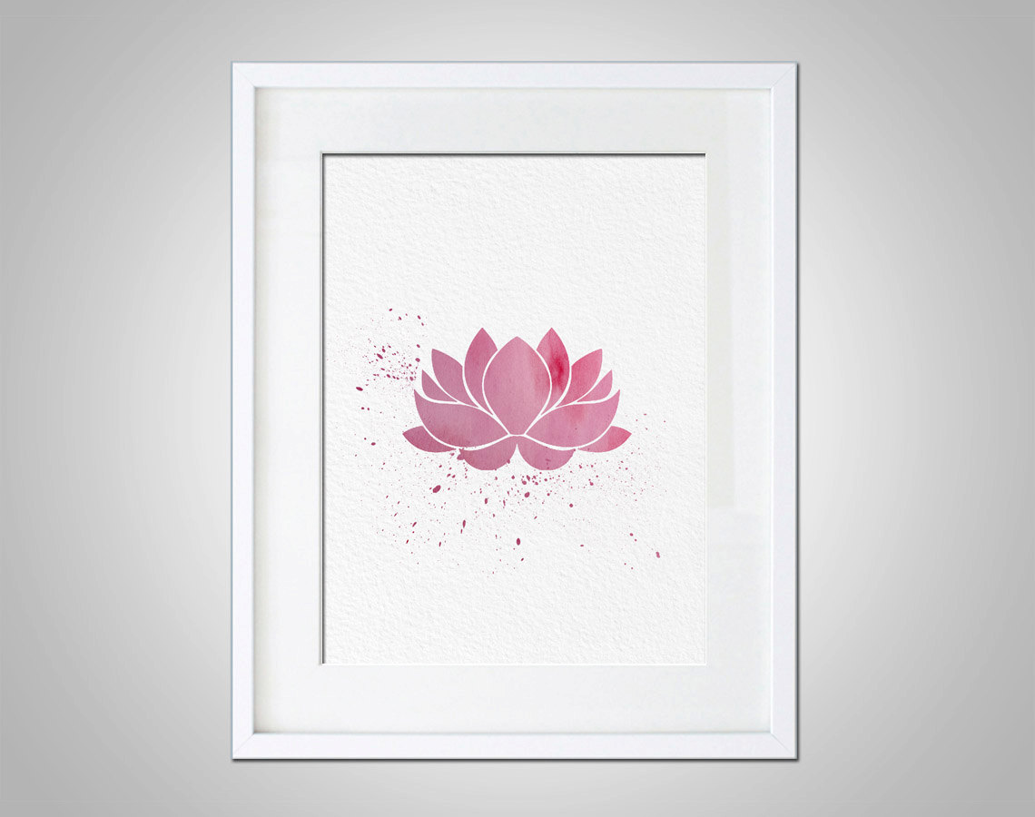 Watercolor Art Lotus Flower gift Modern 8x10 Wall Art Decor Lotus ...