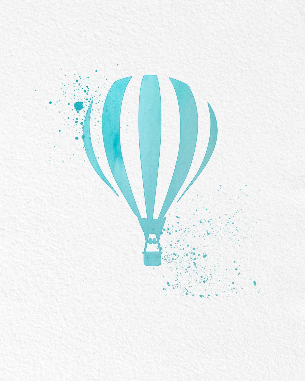 Watercolor Art Hot Air Balloon gift Modern 8x10 Wall Art Decor Hot ...