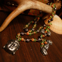 Buddha and Beaded Chain Necklace