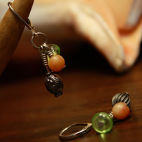 Silver, Aventurine, and Green Glass Earrings