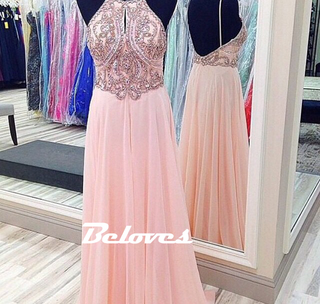 Pink Chiffon Beaded Bodice Prom Dress With Open Back · Beloves ...