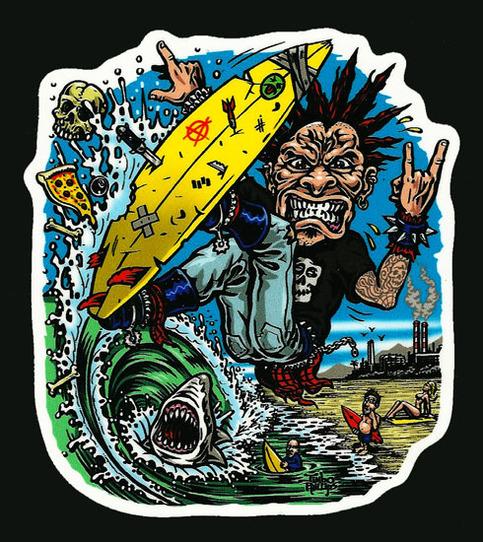 jimbo phillips surf punk full color shaped vinyl sticker