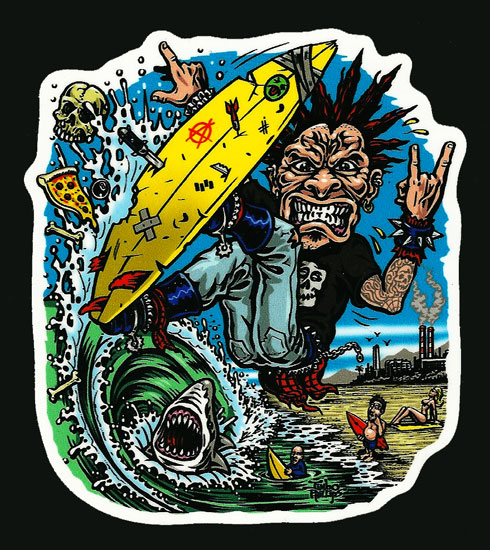 Jimbo Phillips SURF PUNK Full Color Shaped Vinyl Sticker Jimbo - Full color vinyl stickers