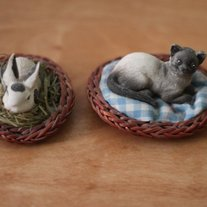 Kitty and Bunny Figurines