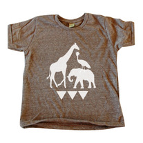 Children's Brown Ugandan Wildlife Tee