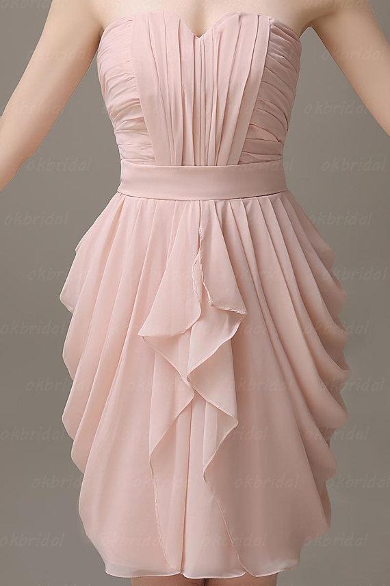 Blush pink bridesmaid dress blush pink dress short for Blush wedding dress for sale