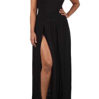 Plus Size Spiked Shoulder Double Slit Maxi dress ...