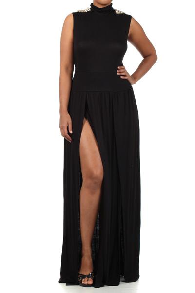 Plus Size Spiked Shoulder Double Slit Maxi dress on Storenvy