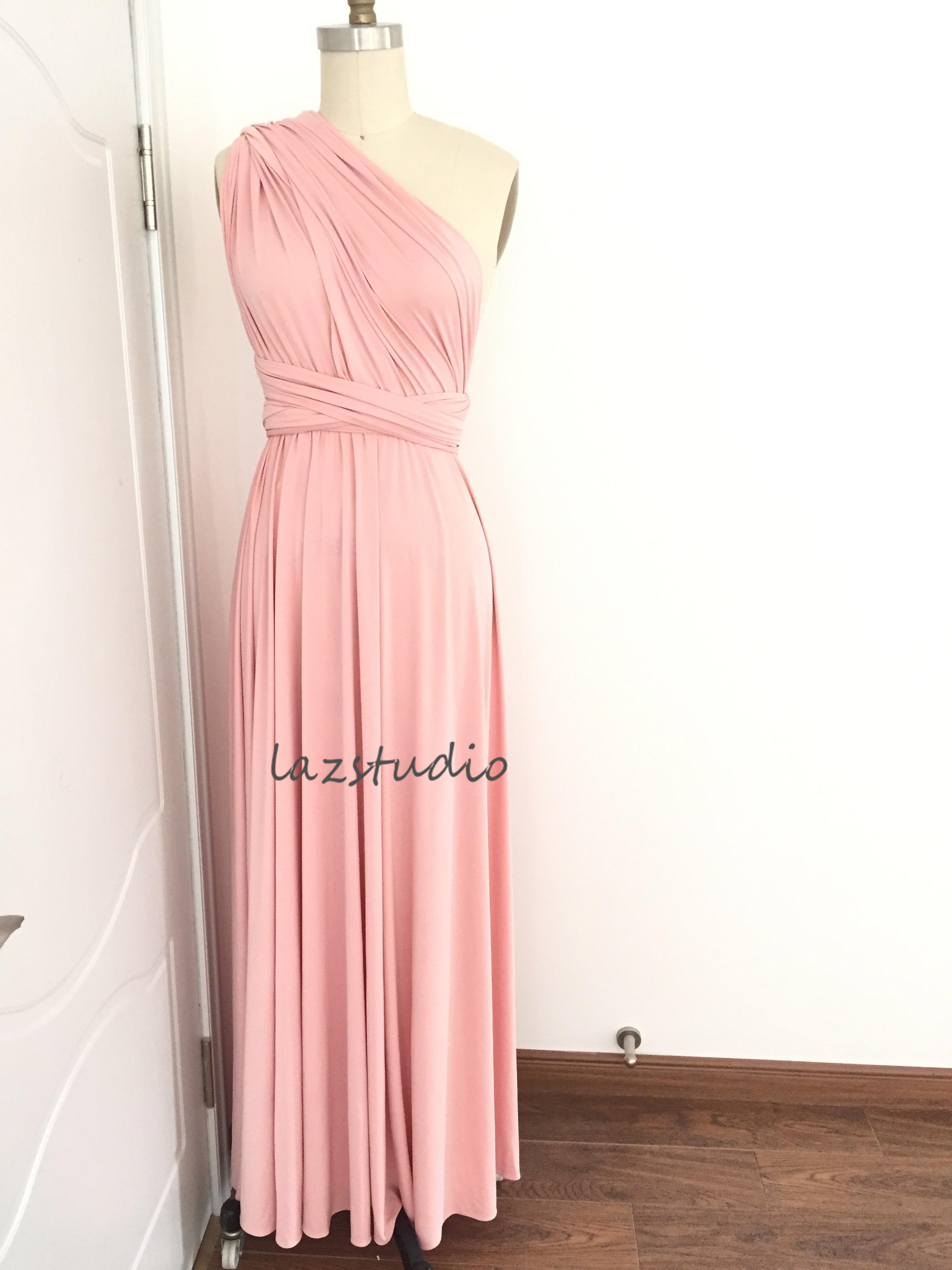 Pink jersey dress bridesmaid dress convertible dresses one pink jersey dress bridesmaid dress convertible dresses one shoulder dress ombrellifo Gallery