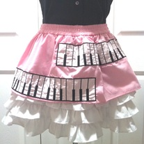 M fairy kei pink white ruffle black piano keyboard full mini petticoat skirt