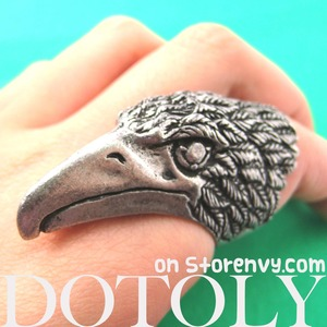 Adjustable 3D Eagle Hawk Bird Statement Animal Ring in Silver