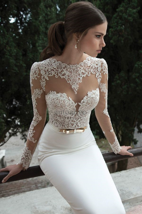 Sexy Lace Satin Wedding Dress Long Sleeves Open Back Bridal Gown UPS