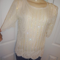 Vintage Cream Sequins Shirt Size 6!!