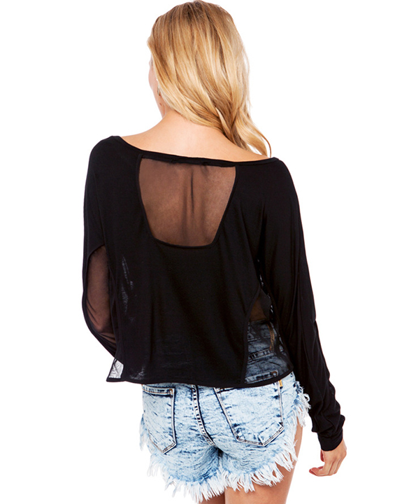 Back Gauze Stitching Perspective T Shirt Tops Blouse J Adore