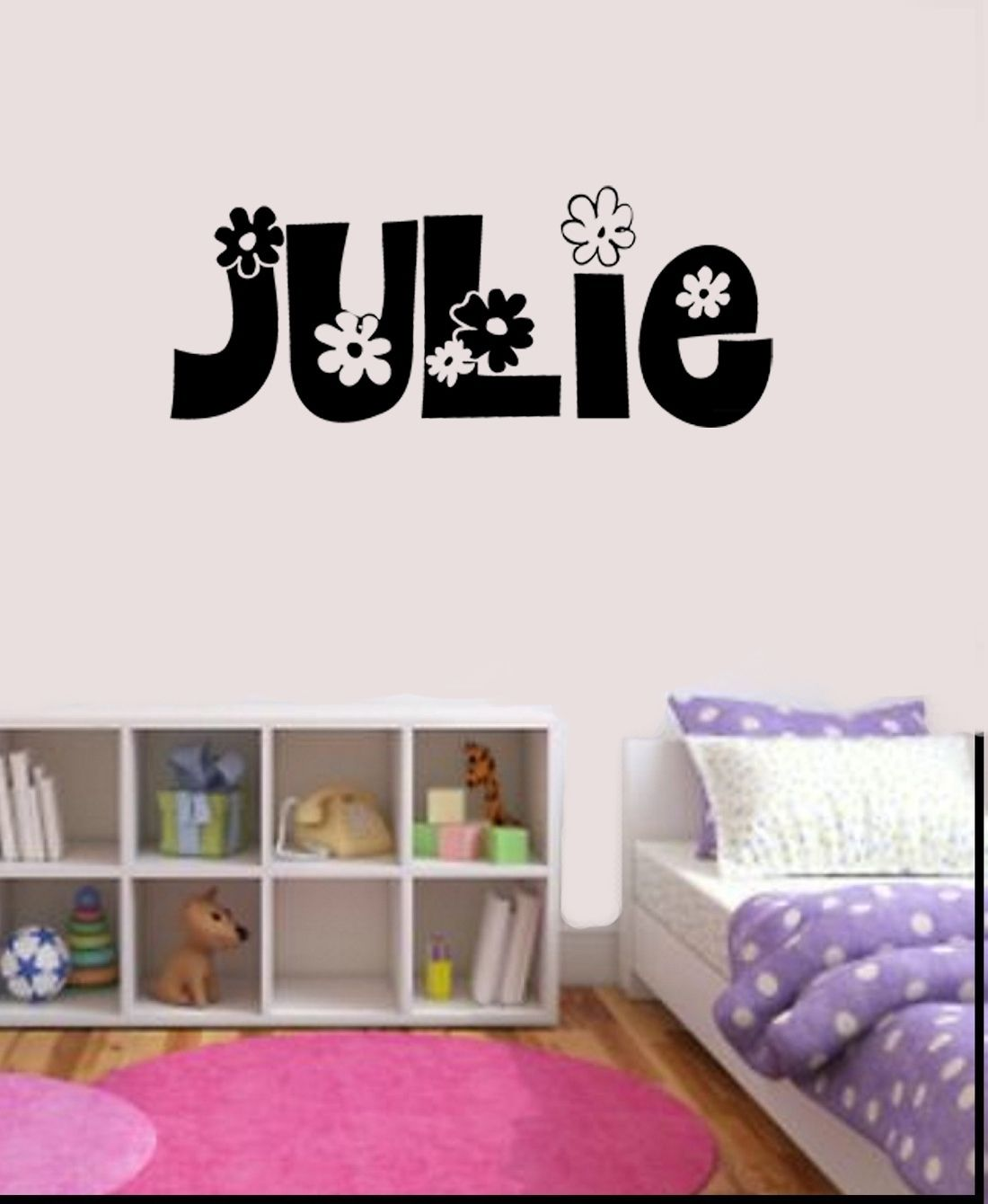 Girls Personalized Flower Name Decal Wall Sticker Bedroom ...