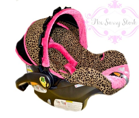 cheetah and hot pink infant car seat cover with headrest and strap covers made to order for your. Black Bedroom Furniture Sets. Home Design Ideas
