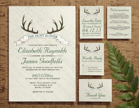 Printable The Hunt Is Over Wedding Invitations Set Suite
