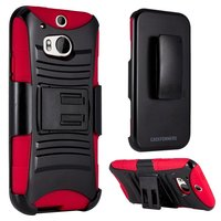 HTC One (M8) - Dual Layer, Rugged Combo Case with Kick Stand and Holster - Thumbnail 3