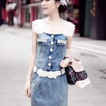 Vestido Vaquero Encaje / Denim Lace Dress 2WH178