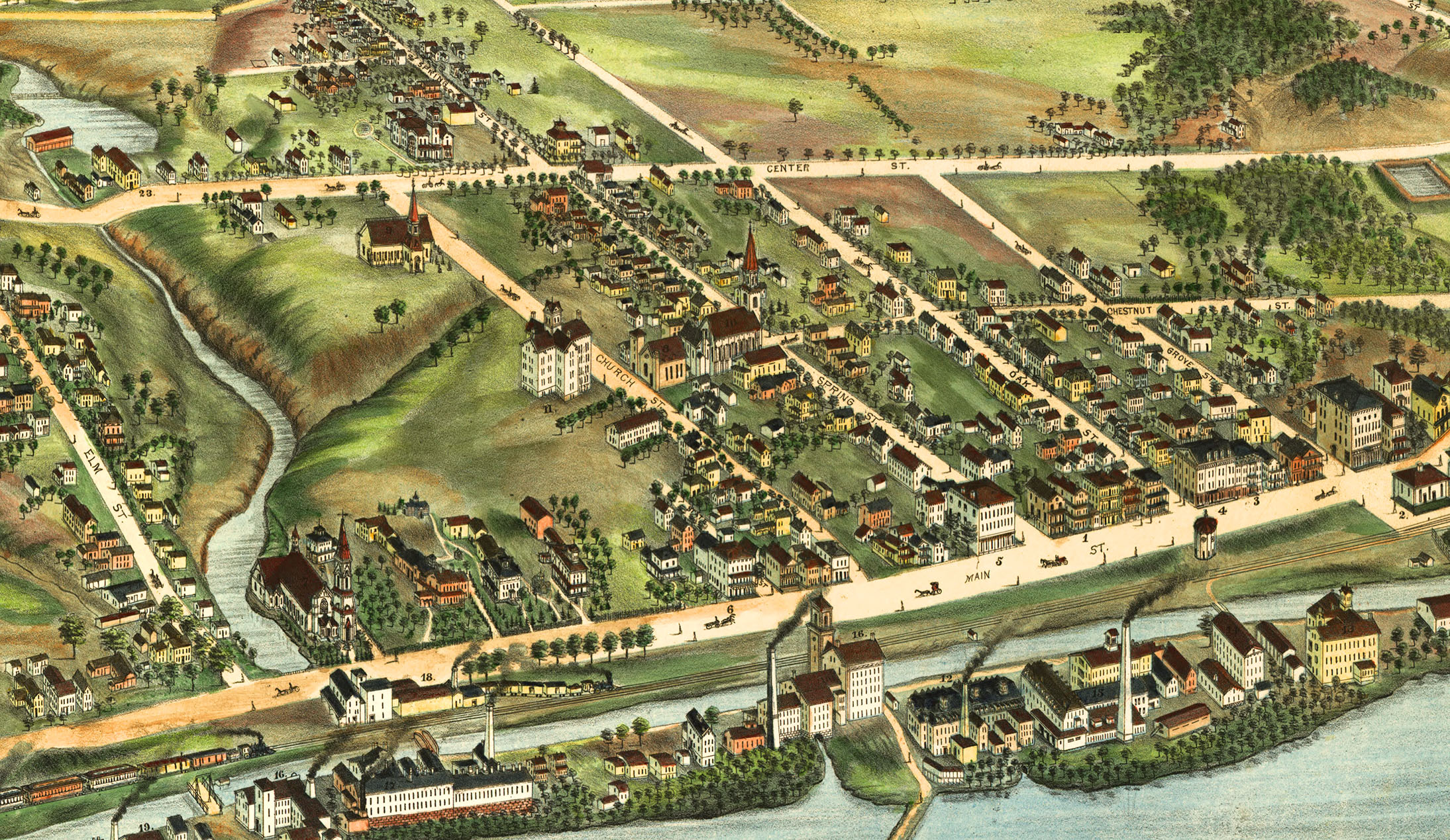 Windsor Locks (CT) United States  city images : Windsor Locks, CT in 1877 Bird's Eye View, Aerial map, Panorama ...