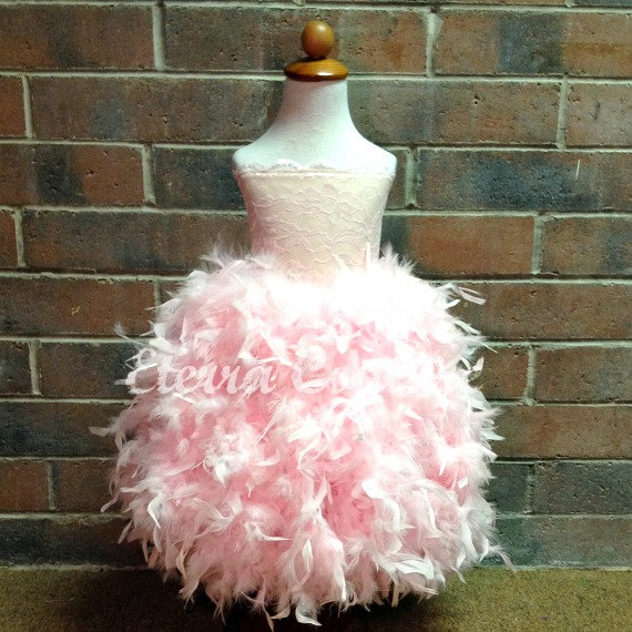 Lace Flower Girl Feather Dress Corset Couture Strapless Tutu Dress ...