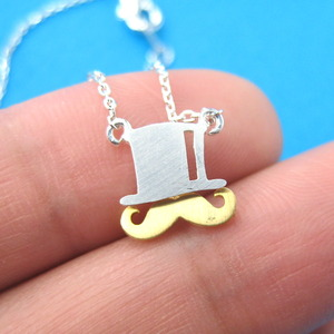 Moustache and Top Hat Necklace in Sterling Silver
