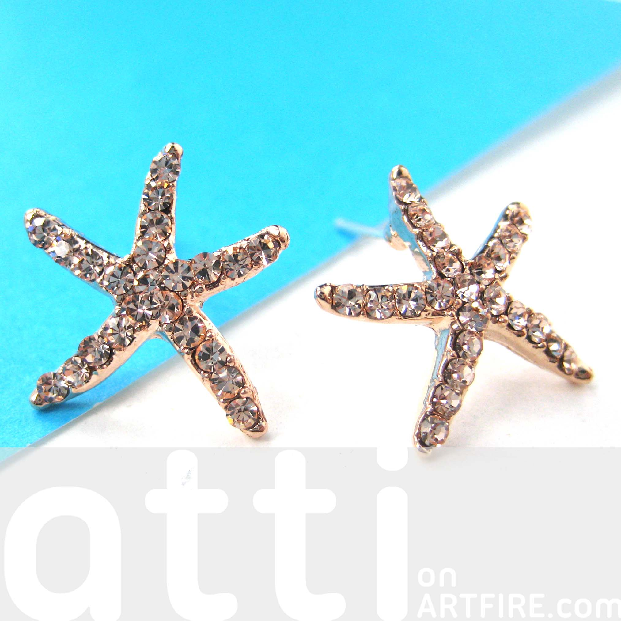 lyst pav stud jewelry fullscreen johnson blue view earrings betsey starfish pave in