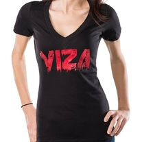 Black V-Neck 'Ink' w/Foil Logo Girls Shirt