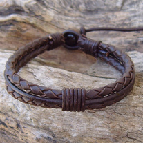 Brown Leather Bolo Cord Bracelet