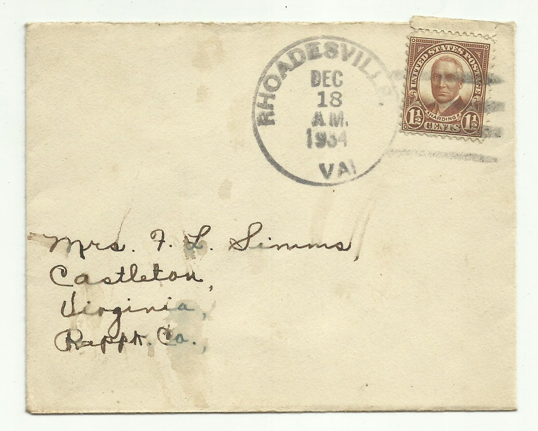 Scott 684 Harding 1 2 Cent Stamp Cancelled Rhoadesville Virginia 1934