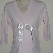 Pink Top with Bow in Middle-Mimi Maternity Size Small