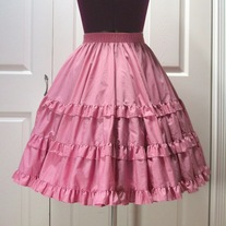 S pink three tier steampunk victorian full circle rockabilly skirt