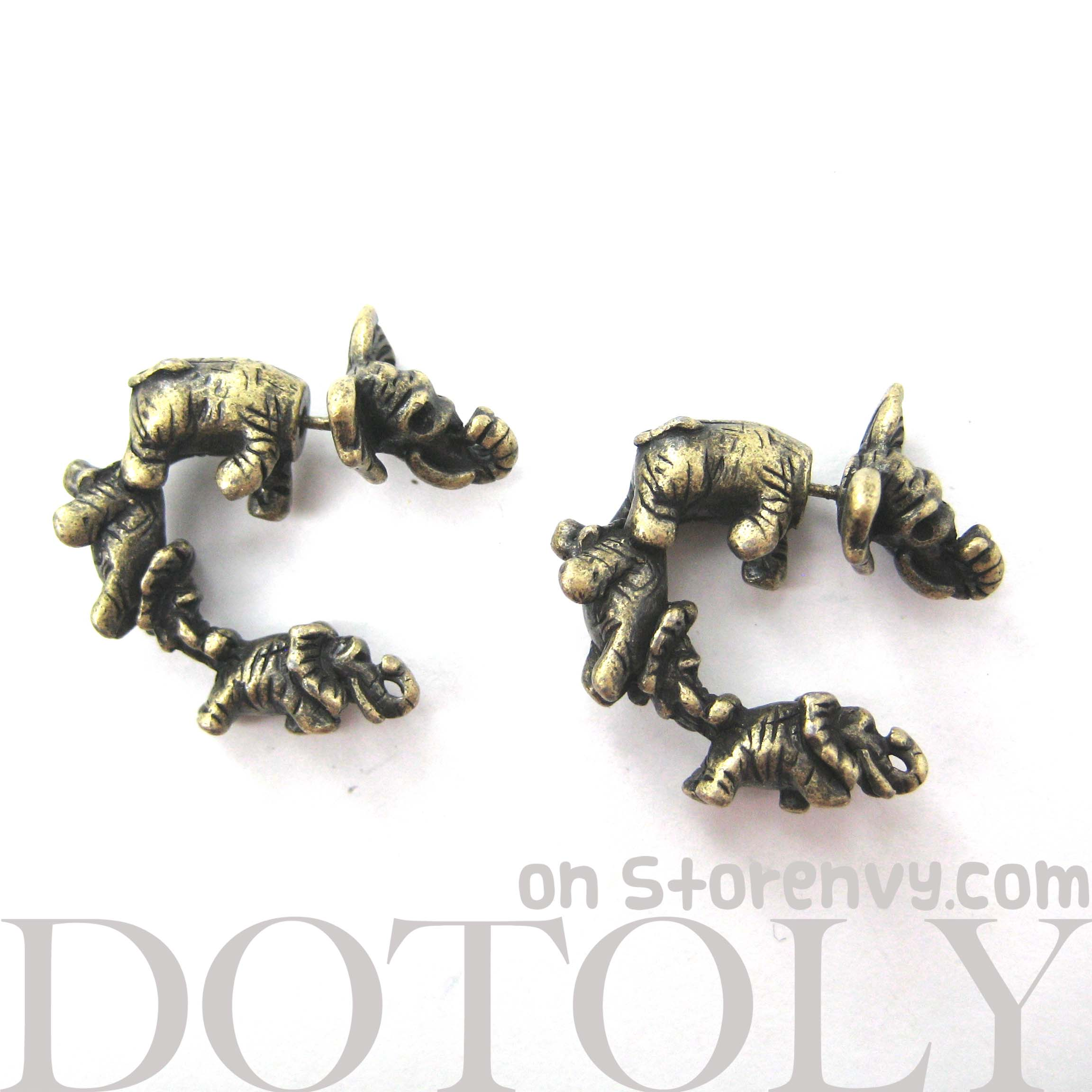 Unique 3D Fake Gauge Baby Elephants Animal Stud Earrings ...