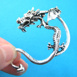 3D Detailed Dragon Animal Wrap Ear Cuff Studs in Silver
