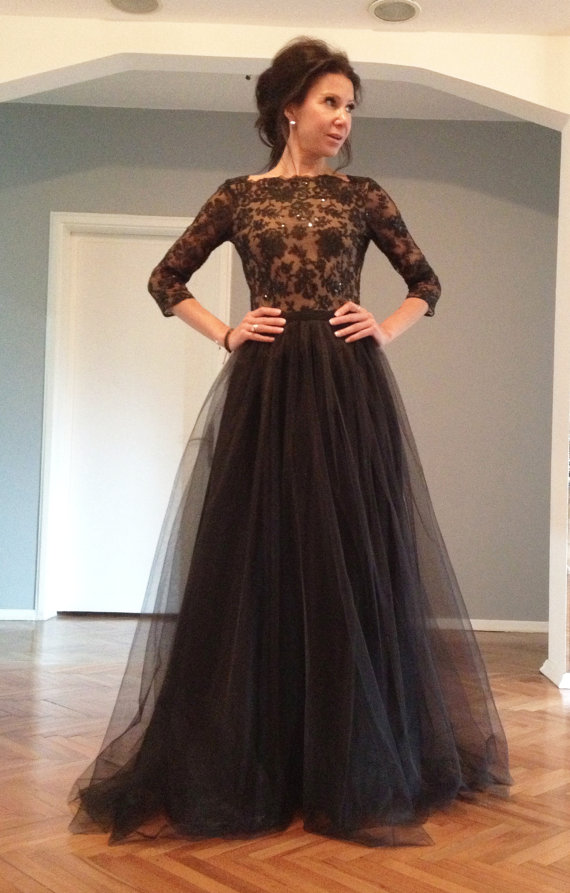 Long Sleeve Lace Prom Dress With Open Back Long Sleeve Lace Prom Dress