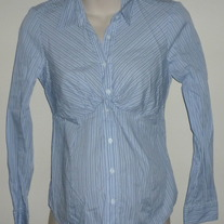 Blue Pin Stripe Career Top-Mimi Maternity Size Medium