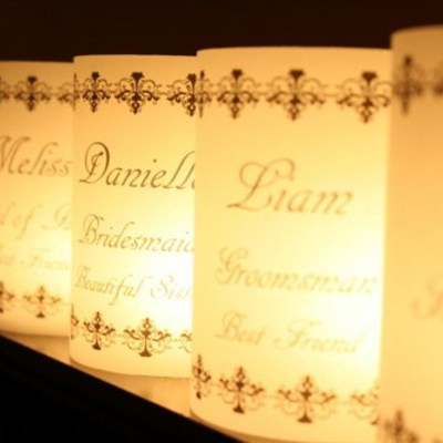 Place card luminarias - black vintage border design
