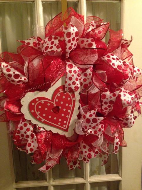Valentine Heart Red White Deco Mesh Wreath Wooden Heart On