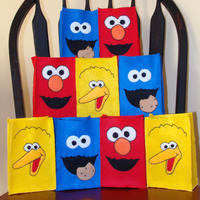 Sesame Street Felt Party Favor Bag Assortment - 1 of Each (Elmo, Cookie Monster and Big Bird) - Thumbnail 4