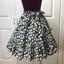 S - black white tulip flower print gothic rockabilly full circle skirt