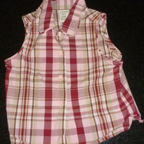 Pink/Green Plaid Sleeveless Shirt-Copper Key Size 4